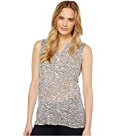 Dylan by True Grit - Gauzy Cotton Zebra Sleeveless Market Blouse