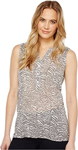 Gauzy Cotton Zebra Sleeveless Market Blouse