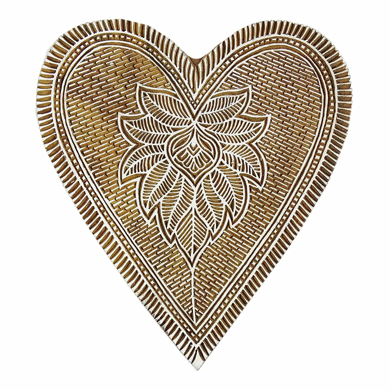 Handcarved Printing Block Wooden Textile Decorative Heart Shape Floral Stamp