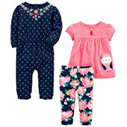 63 NEW CARTERS Infant Baby GIRL Size 6 MONTHS 6M Pants Set Navy UNICORN Pink