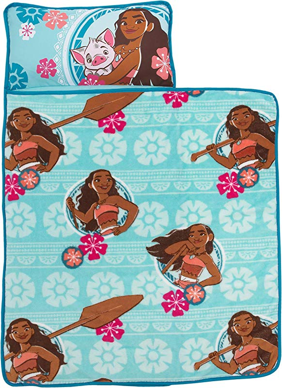 Disney Moana Toddler Nap Mat With Attached Pillow And Blanket Aqua Pink White