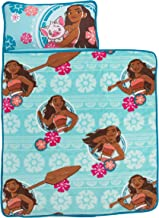 Disney Moana Toddler Nap Mat with Attached Pillow and Blanket, Aqua, Pink, White