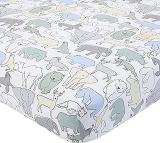 Dwell Studio Caravan Animal Print Fitted Crib Sheet, Aqua/Gray/Green/Yellow