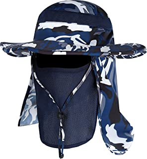Outdoor Sun Hat with Removable Neck Face Flap Fishing Hat Safari UPF 50+ UV Sun Protection Bucket Cap Mesh Boonie Hat.Momoon