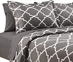 Karalai 4 Pc Grey and White Lattice Queen Duvet Cover Bed Set -1 Duvet, 2 Pillow Cases 1 Fitted Sheet Included
