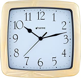8.5-inch Quality Square Water Resistant Quartz Wall Clock Special for Small Space, Office, Boats, RV (Gold Plate)