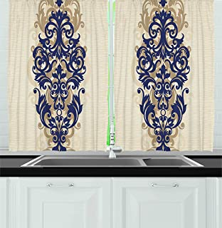 Ambesonne Kitchen Decor Collection, Classical Baroque Vintage Design Print Victorian Style Brush Kitchenware Oriental, Window Treatments for Kitchen Curtains 2 Panels, 55X39 Inches, Navy Golden Cream