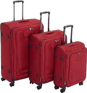 Amazon Basics 3 Piece Expandable Softside Spinner Luggage Suitcase With TSA Lock And Wheels Set - Red