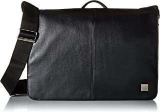 """Knomo Brompton Classic Bungo, 15.6"""" Expandable Leather Laptop Messenger Bag, with Adjustable Straps and RFID Pocket, Black"""