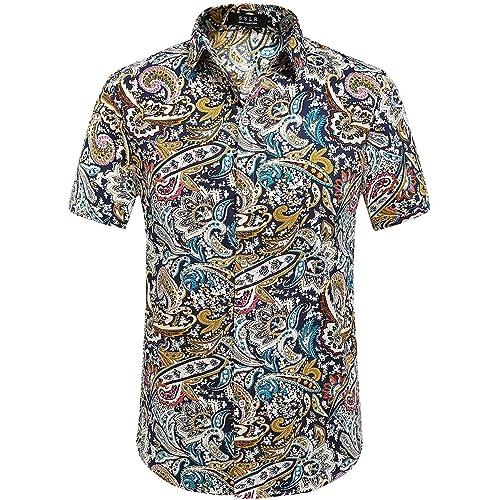fe47a405f4 SSLR Men's Flower Regular Fit Short Sleeve Holiday Hawaiian Shirts