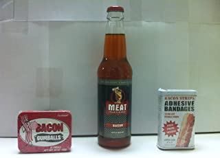 Meat Maniac Bacon Flavored Soda, Bacon Bandaids & Bacon Gumballs- Triple Sampler Gift Pack
