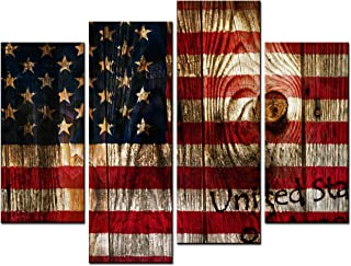 SmartWallArt - The Flag of The United States of America Wall Painting, 4 Pcs Large Size Stars and The Stripes Picture Canvas Print Wall Hanging for Living Room (01: Annual Ring)