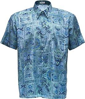 Thai Silk Men's Shirt Short Sleeve Graphic Pattern