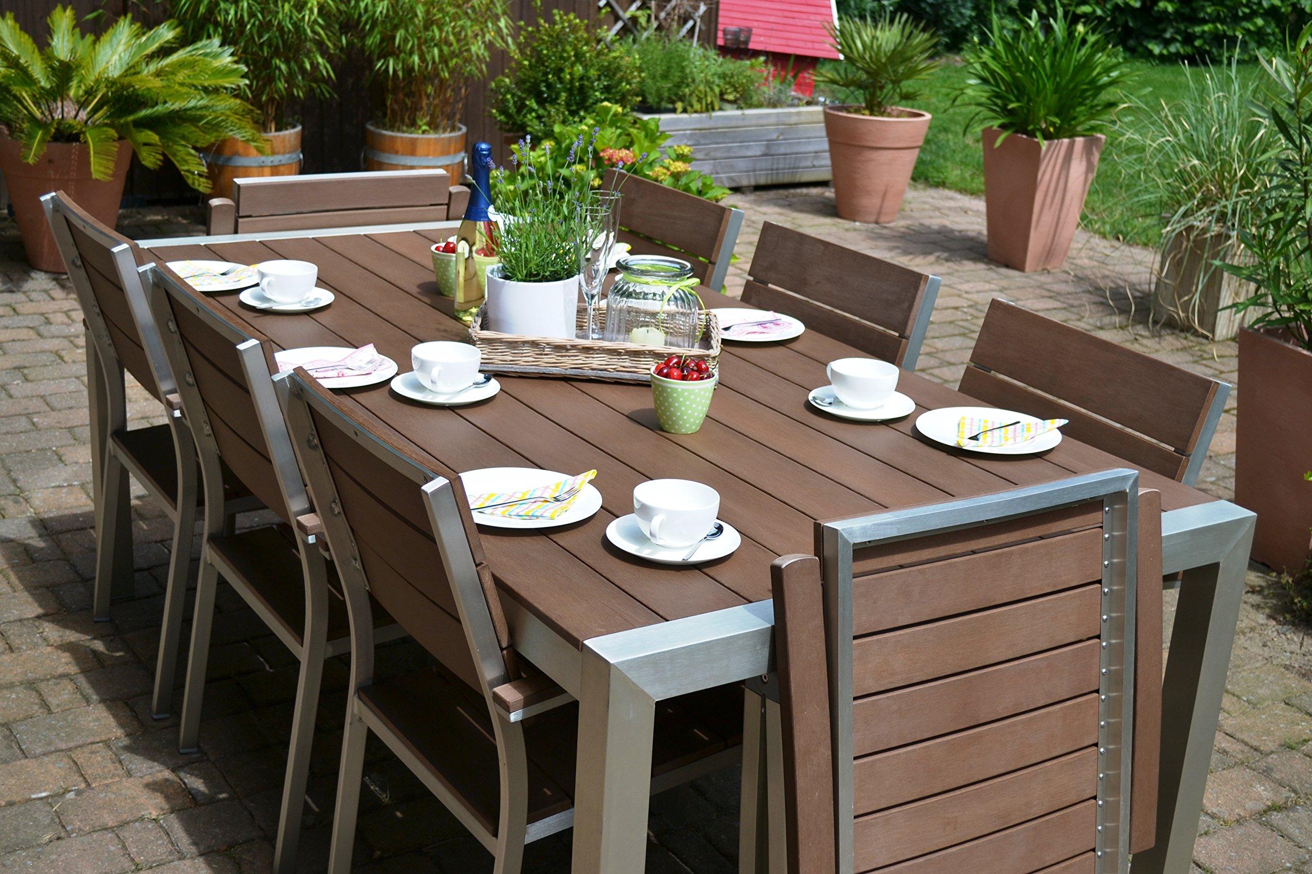 Bomey Muebles de Jardín Miami Mesa 200 x 100 + 6 sillas apilables y 2 con Respaldo Alto 8 Personas Madera Oscuro, polywood y Aluminio Recubierto de Acero Inoxidable: Amazon.es: Jardín