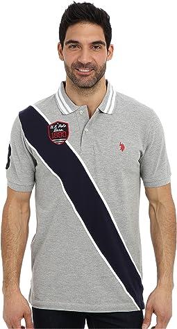 Diagonal Stripes Short Sleeve Pique Polo