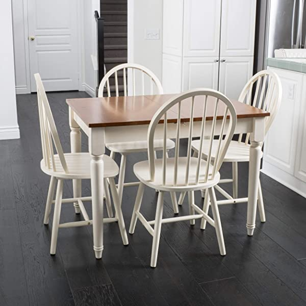 Christopher Knight Home 296038 Gates 5 Piece Spindle Wood Dining Set With Leaf Extension Dark Oak Antique White