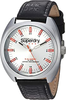 Superdry Men's 'Infantry' Quartz Silver-Tone and Leather Casual Watch, Color:Black (Model: SYG228B)