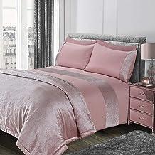 Sienna Glitter Duvet Cover with Pillow Case Sparkle Glitz Velvet Bedding Set - Blush Pink, Super King