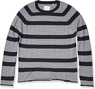 Billy Reid Men's Long Sleeve Block Feeder Stripe Crew Neck Sweater