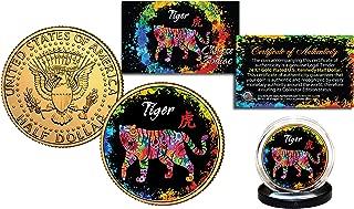 Chinese Zodiac PolyChrome Genuine JFK Half Dollar 24K Gold Plated Coin - TIGER