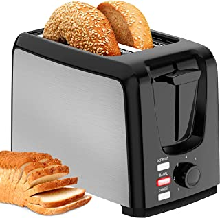 Toaster 2 Slice Wide Slot 2 Slice Toaster Best Rated with Bagel/Defrost/Cancel Function Cool Touch Black Toaster for Bread...