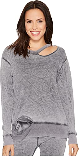 Allen Allen Crew Neck Top with Cut Neck and Hem