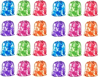 iFavor123 Pack of 24 Assorted Bright Colors Tie Dye Polyester Drawstring Bags Party Favors Goodie Bags