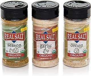 Redmond Real Sea Salt - Natural Unrefined Organic Gluten Free, Seasoning 4.75 Ounce Shaker Bundle (Onion, Season, Garlic)