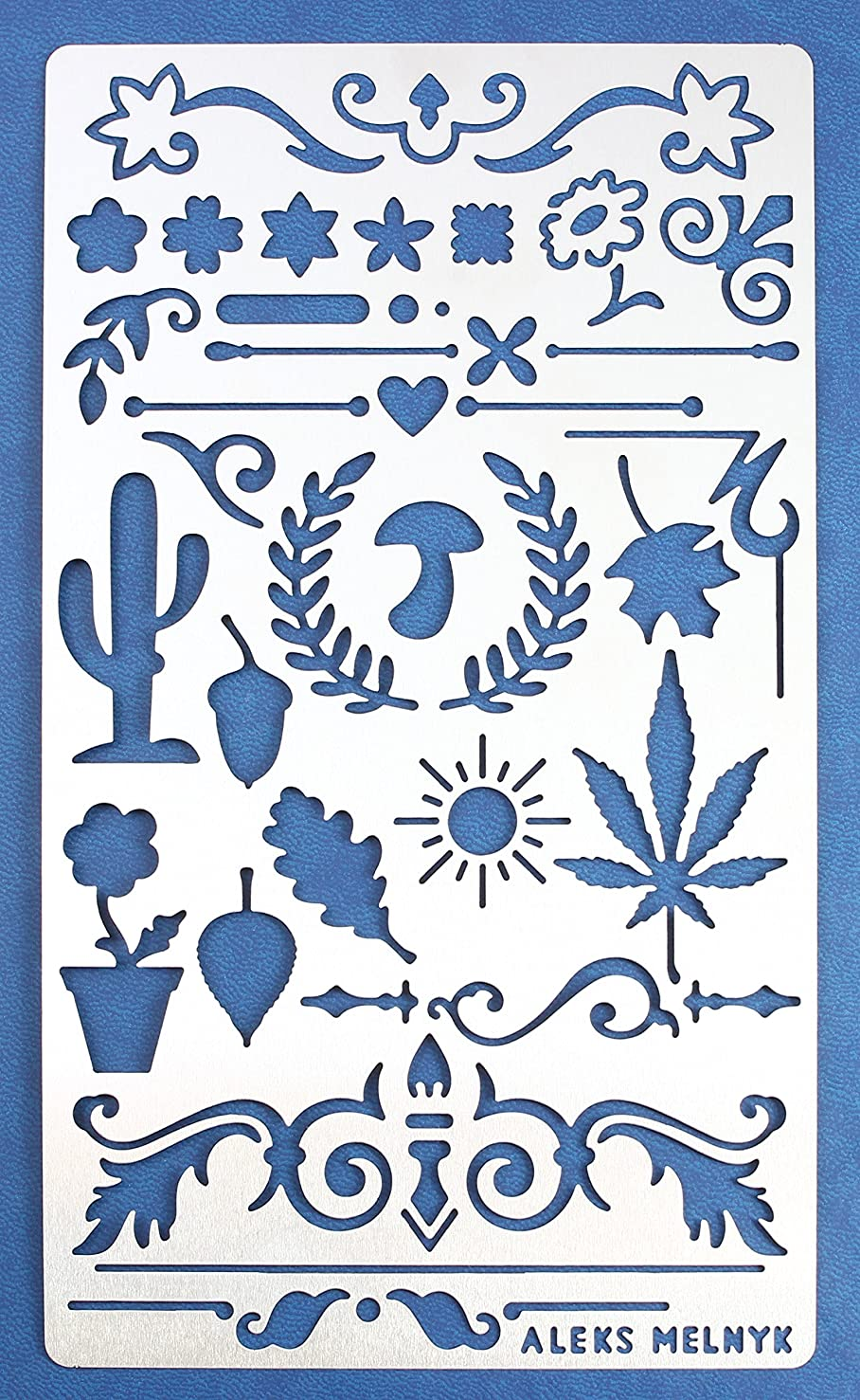 Aleks Melnyk #1 Metal Journal Stencil/Nature, Dividers, Ornament/Stainless Steel Stencil 1 PCS/Template Tool for Wood Burning, Pyrography and Engraving/Scrapbooking/Crafting/DIY