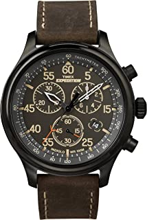 Timex Men's Expedition Field Chronograph Watch, Brown Leather Strap Dad's Gift Fathers Day