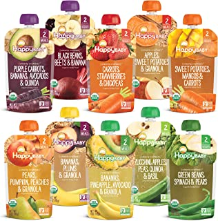 Sponsored Ad - Happy Baby Organics Clearly Crafted Baby Food Pouches Variety Pack, 4 Ounces, 10 Count [Flavors May Vary]