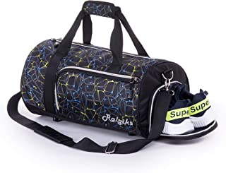 Waterproof Sports Gym Bag with Shoes Compartment Travel Duffel Bag (Dynamic Black, Medium)