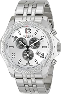 Akribos XXIV Men's Silver Swiss Chronograph Watch - Coin Edge Bezel - Sunburst Effect Dial - Luminous Hands and Markers - Stainless Steel Bracelet - AK659