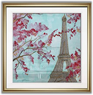 Renditions Gallery PF024-40511-22x22 Springtime in Paris Cityscape Picture Contemporary Wall Art Framed Landscape Paintings Fine Giclee Prints, 22x22, Gold