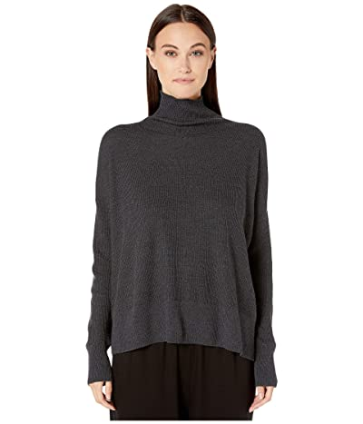 Eileen Fisher Merino Waffle Stitch Funnel Neck Box-Top (Charcoal) Women