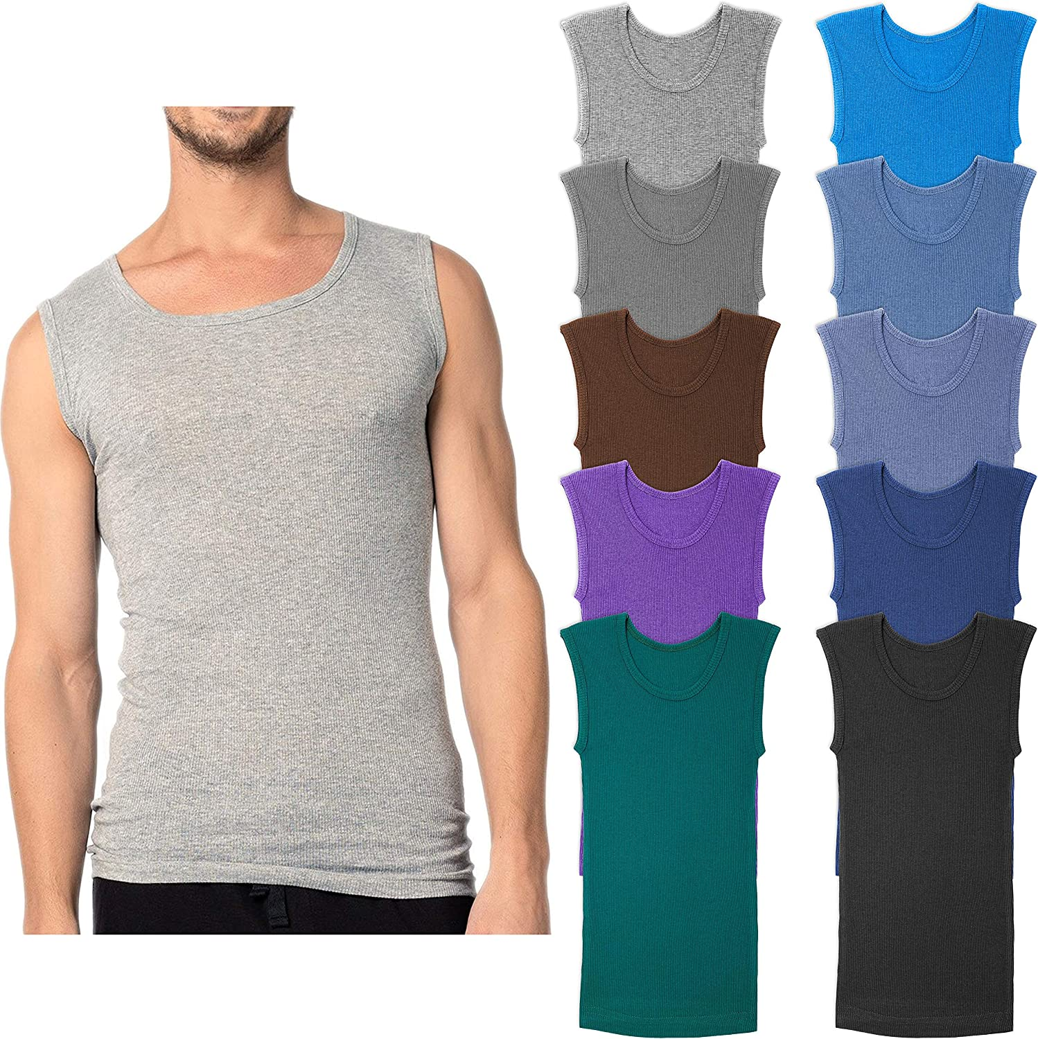 Andrew Scott Men's 10-Pack online shop Color Tanks Crew Sleeveless Sales of SALE items from new works Muscle
