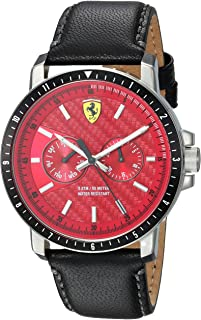 Ferrari Men's 'Turbo' Quartz Stainless Steel and Leather Casual Watch, Color Black (Model: 830449)