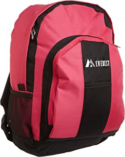 Everest Luggage Backpack with Front and Side Pockets, Hot Pink/Black, Large