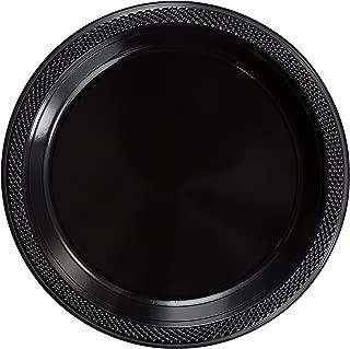 Exquisite 7 Inch. Black Plastic Dessert/Salad Plates - Solid Color Disposable Plates - 100 Count