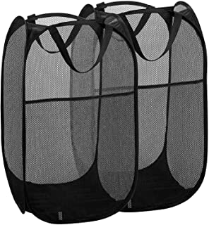 Mesh Pop up Laundry Hamper, AMERTEER 2 PCS Collapsible Mesh Laundry Basket Bin Hamper Toy Tidy Storage Organiser Organize...