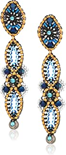 Miguel Ases Vertical Linear Fleur Petals Swarovski Cluster Post Drop Earrings, Egyptian Blue