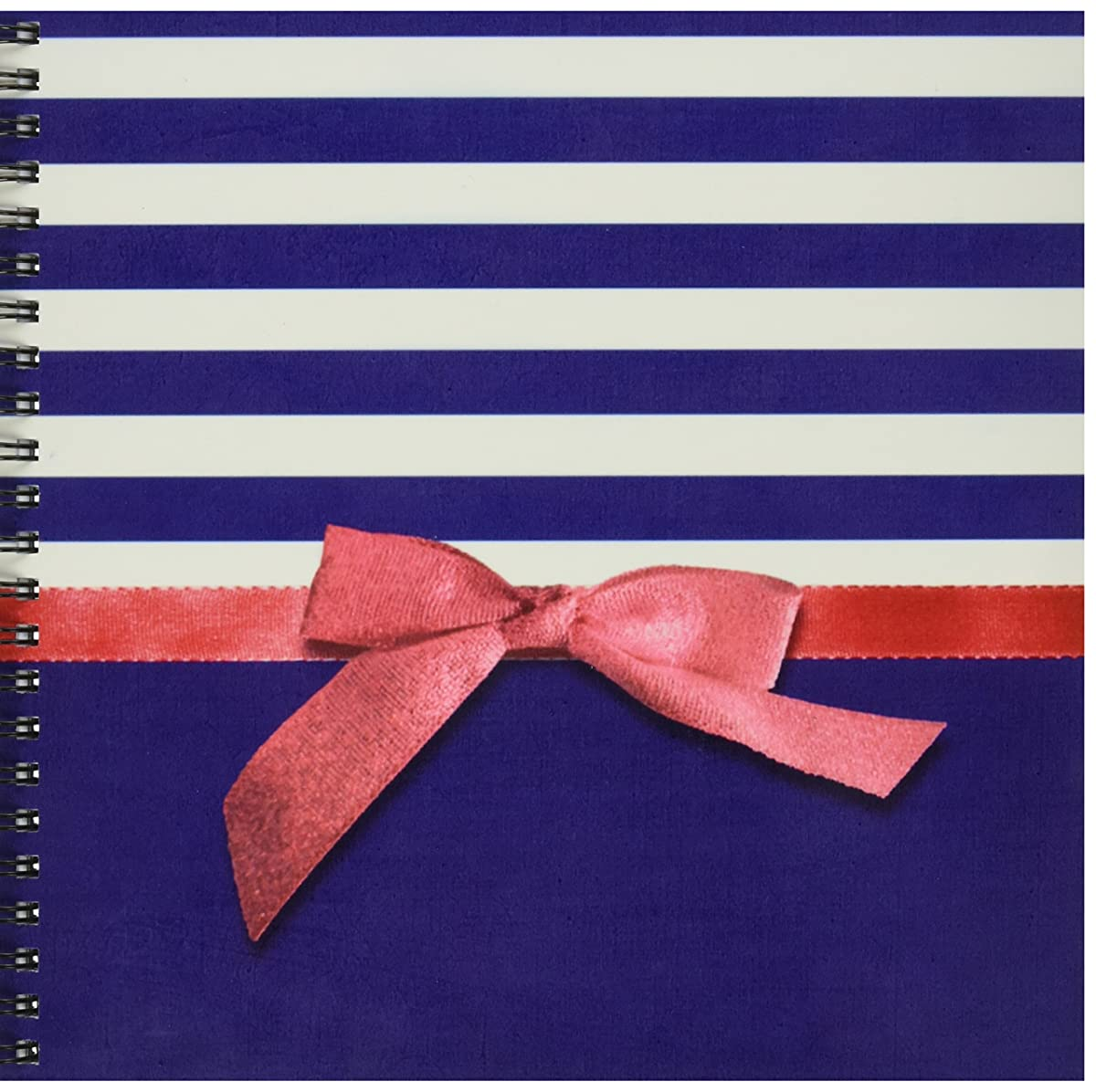 3dRose db_151232_1 Nautical Navy Blue and White Stripes-Faux Red Ribbon Bow Graphic Girly Sailor Classy Retro-Drawing Book, 8 by 8-Inch