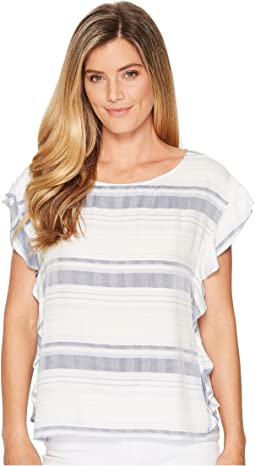 TWO by Vince Camuto - Herringbone Stripe Ruffle Sleeve Blouse
