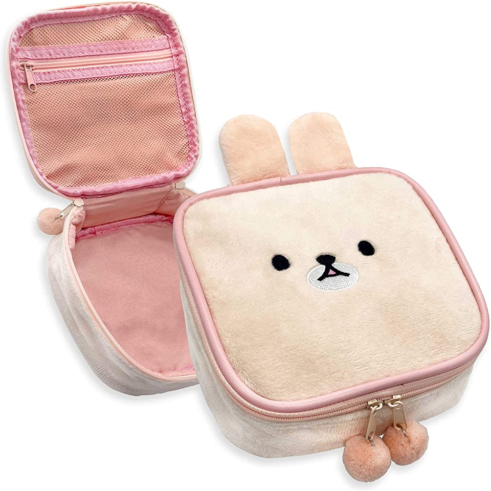 Cute Kawaii Plush Makeup/Cosmetic Bag With Inner Pocket and Handle and Zipper Closure for Convenient Travel and Portability, Soft Velvet Texture, For Women and Girls (Pink Bunny)