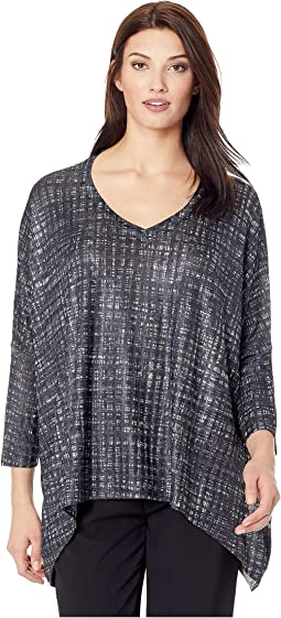 Grid Print V-Neck Top