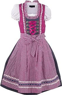 Ramona Lippert Kinder Dirndl für Mädchen - Kinderdirndl Mila in Pink Grau - 3-teiliges Trachtenkleid - Trachtenmode - Tracht mit Schürze