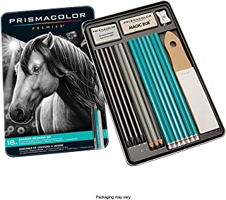 Prismacolor 24261 Premier Graphite Drawing Pencils with Erasers & Sharpeners Set (18-Piece)