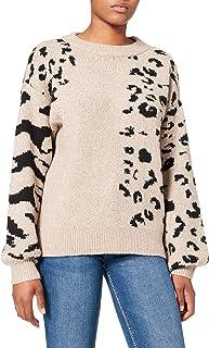 VILA VIALIA ANIMAL L/S KNIT TOP dames Pullover trui