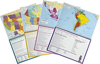 Painless Learning Educational Workbook Eight Geography Full Color Detailed Laminated Maps USA,World,Canada,Mexico,South America,Europe,Africa and Asia