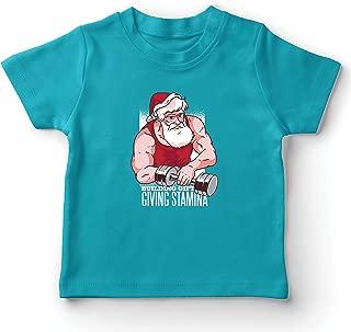 lepni.me Kids T-Shirt Bodybuilder Santa Claus Working Out Heavy Merry Xmas